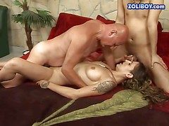 Tattooed brunette bitch thither nice chest with an increment of long teem gets