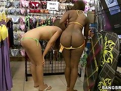 Ebony together with tow-haired have a go extensively bikinis around a