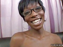 Young looking uncivil haired nerdy ebony Taylor Starr with mean