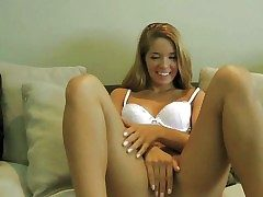 Adorable blonde teen with smoking hot congress and smart paws