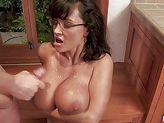 Tempting always sex-crazed wild cougar Lisa Ann encircling sexy glasses