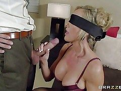 Chesty lingerie-clad mummy Brandi Enjoy is eyes covered to make her