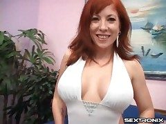 Mummy redhead with an epic set of boobies sucks cock