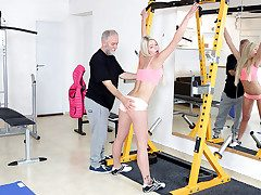 Martina loved how this old goes young guy drove her nasty by blowing her bra-stuffers