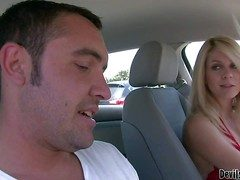 Blonde Angela Attison is a taking milf. Playful dame flashes