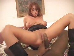 Hot redhead at hand raven leather scullery-maid rides raven canary tome