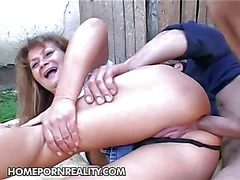 Old slut Samantha gets the brush big ass fucked unfathomable cavity with an increment of